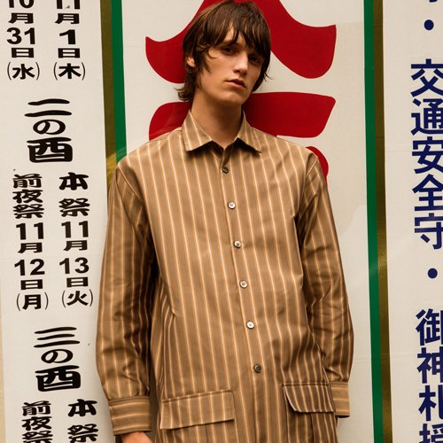 TONY POCKET LONG SHIRTS atb240m(Beige/Stripe)