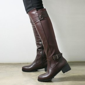 Elastic fabric combi fur long boots_KM15w323
