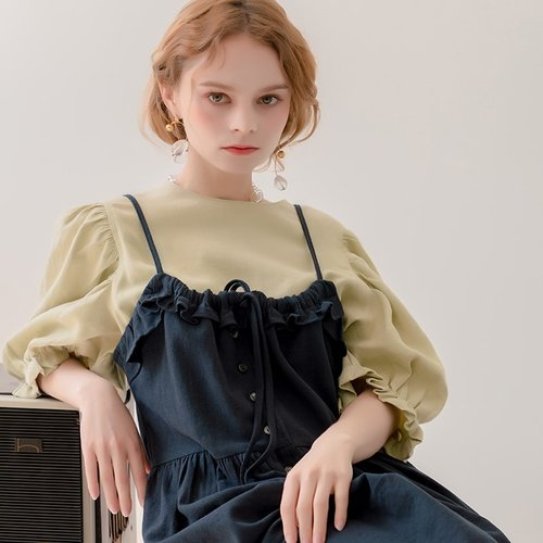 Linen Ruffle Layerd Dress Navy (2359797)