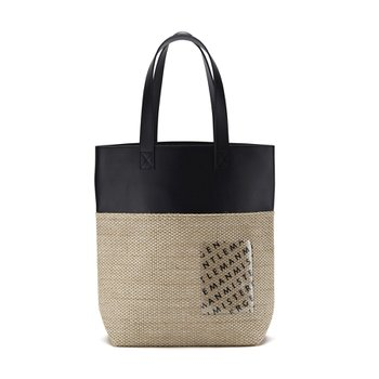 STRAW x LEATHER BAG BLACK