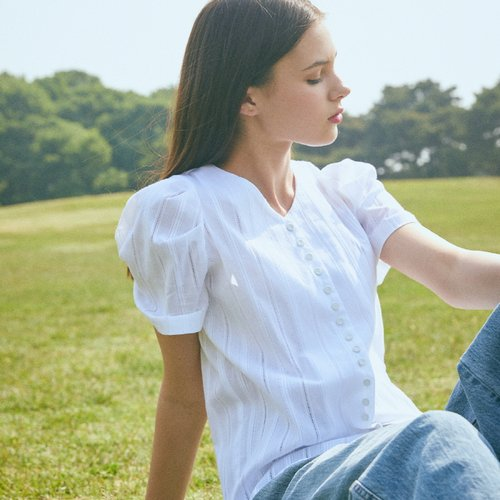LJ BUTTON BLOUSE(WHITE)