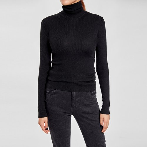 / wool 100 ribbed turtleneck