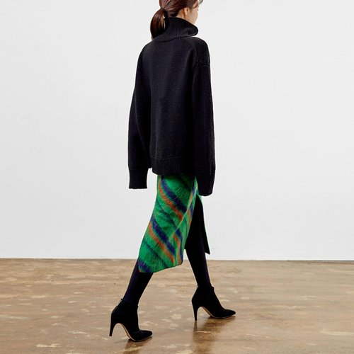 / winter diagonal stripe skirt