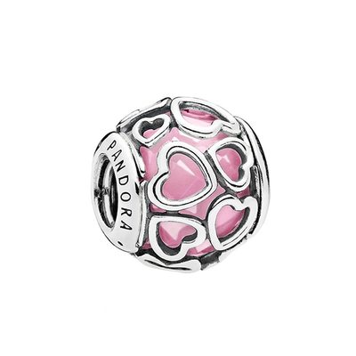 PANDORA 판도라 792036PCZ Encased in Love Pink Charm 실버참