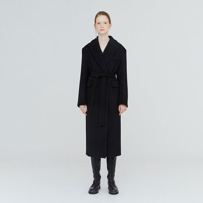 [가브리엘리] 19FW PEAK COLLAR DOUBLE-FACED WOOL COAT - BLACK