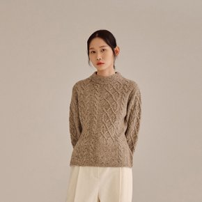 BEIGE WOOL BLEND CABLE KNIT TOP