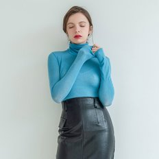 Wool Tencel Long Sleeve Turtle Neck Blue (3590908)