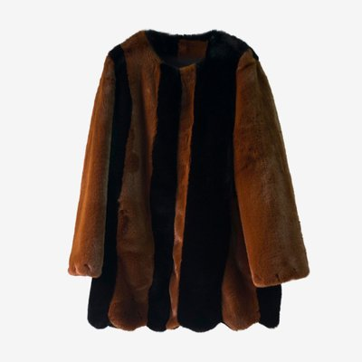 TOO COOL FOR FUR 투쿨포퍼 JOELLE COAT 028 BROWN/BLACK