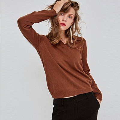 [DEANS] V-NECK MINIMAL D KNIT_BROWN