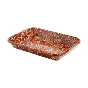 ENAMEL TRAY RECT SPRINKLE BROWN