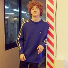 [RLOL] (KT-19712) RLOL SLEEVE TAPE KNIT PULLOVER BLUE