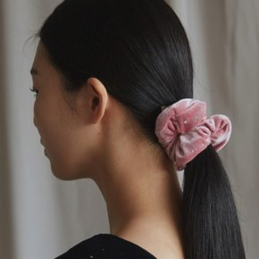 [블리다] pink starry velvet scrunchie (2848896)