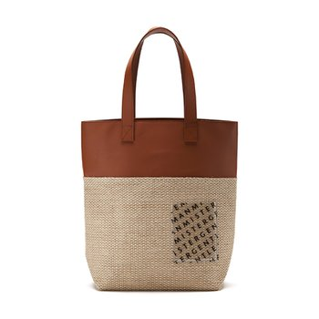 STRAW x LEATHER BAG BROWN