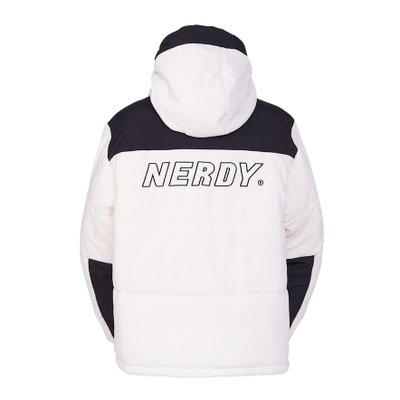 Fleece Block Padded Jacket Ivory