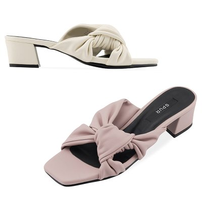 뮬 OS9093 Pleats ribbon mule 아이보리
