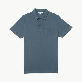 COTTON RIVIERA POLO SHIRT BLUE SLATE