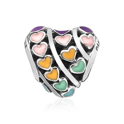 797019ENMX Multi-colour Hearts 실버참