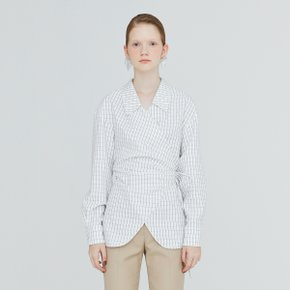 [가브리엘리] 19FW CHELSEA COLLAR GINGHAM WRAP BLOUSE - WHITE GINGHAM CHECK
