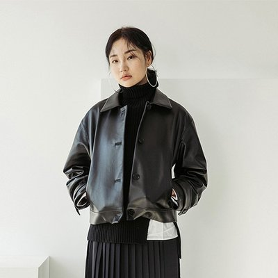 LAMB SKIN SHORT LEATHER JACKET [BLACK] (2070751)