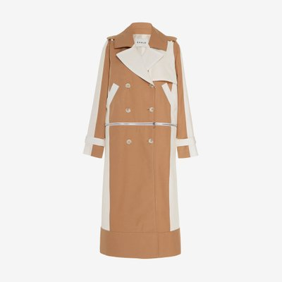 CAALO 칼로 CONVERTIBLE HOODED TRENCH COAT CAMEL/WHITE 102CW