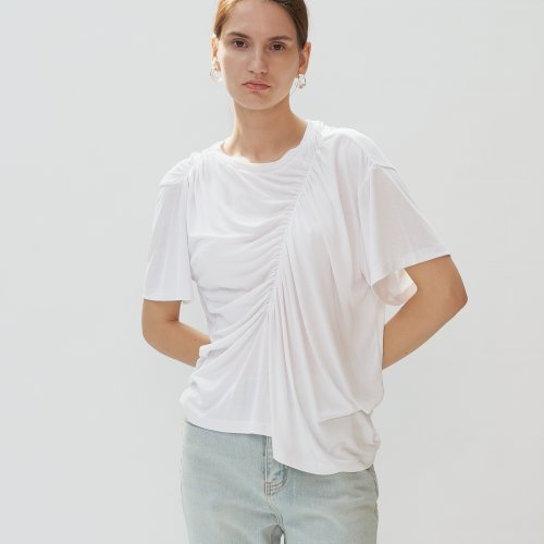 UNBALANCE SHIRRING T-SHIRTS - white