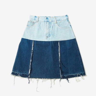 KSENIA SCHNAIDER 크세니아 슈나이더 REWORKED DENIM MINI SKIRT MIX BLUE KSB1013-RSSFW