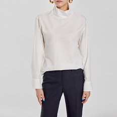 / high-neck cotton blouse