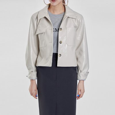 / glossy cropped jacket(2 colors)