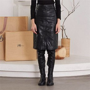 [써틴먼스] TWO POCKET LEATHER SKIRT (BLACK) (3637975)