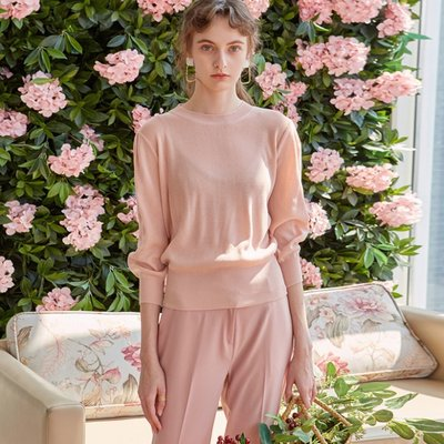 MID SLEEVE KNIT T-SHIRTS_PINK (2222645)