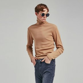 SLIM SIMPLE TURTLENECK T_BEIGE