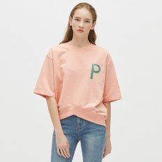 [19S/S][PLAC] WOMENS NEW V-CUTTED HEM LINE SHORT SLEEVE SWEAT SHIRTS (PWON3WSL70W0R4)