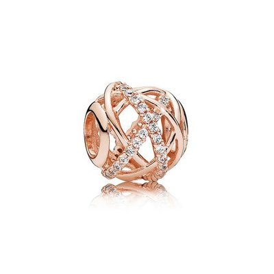판도라■케이스 쇼핑백 증정 Openwork abstract PANDORA Rose charm with clear cubic zirconia 781388CZ