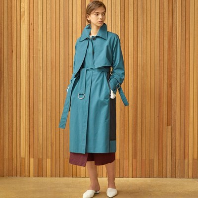 unbalance detail trench coat Green