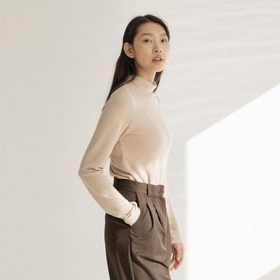 Soft Turtleneck Top - Beige