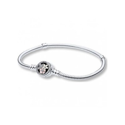 PANDORA 판도라 590744CZ Moments Poetic Blooms Clasp 실버 팔찌
