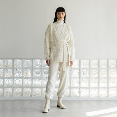 cable belt cardigan (ivory)