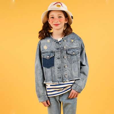 [20% SALE] Daisy color block crop denim jacket