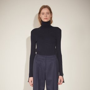 ★SSG 특별혜택가★[뮤제] Piet Contrast-Cuffs Turtle Neck Knit_Deep Navy