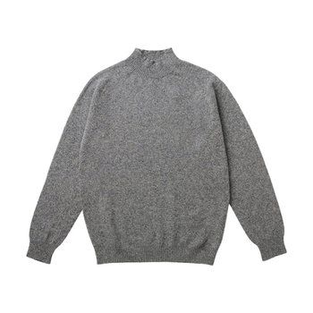 LAMBSWOOL FUNNEL NECK MID GREY MELANGE