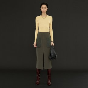 Clair Quilted Pocket Skirt_Khaki