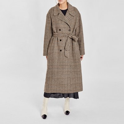 / oversized checky handmade coat