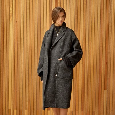 oversize zipper coat Black
