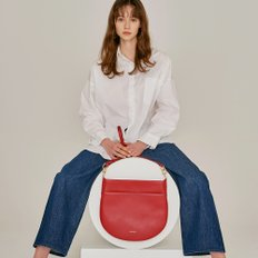 HALF MOON FLAT SHOULDER BAG RED
