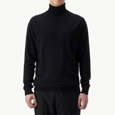 MERINO WOOL ROLL NECK BLACK