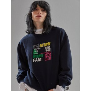 [MIMICAWE]HOME SLOGAN SWEAT SHIRTS/NAVY