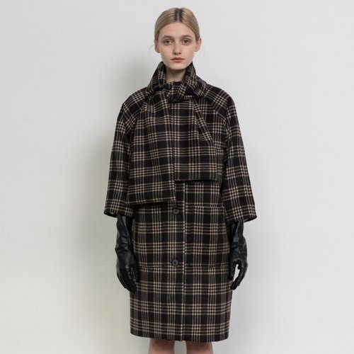 Check patterned muffler coat