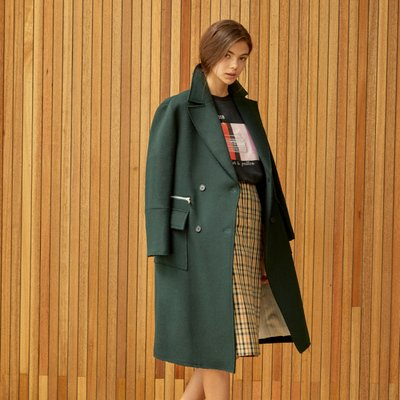 stitch double coat Green