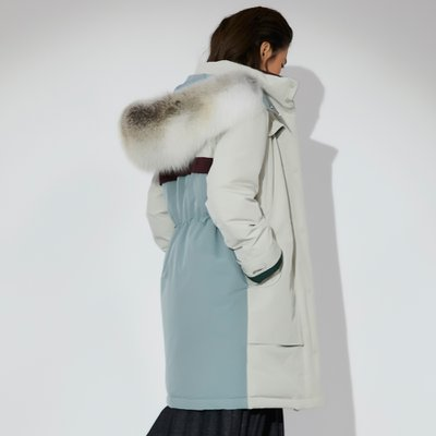 Fox Fur Trimmed Down Filled Parka Light Beige