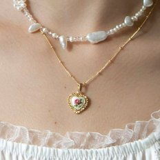 lace heart rose necklace